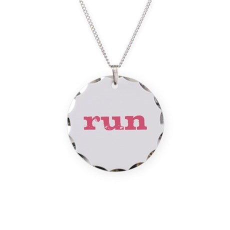 run - pink Necklace Circle Charm