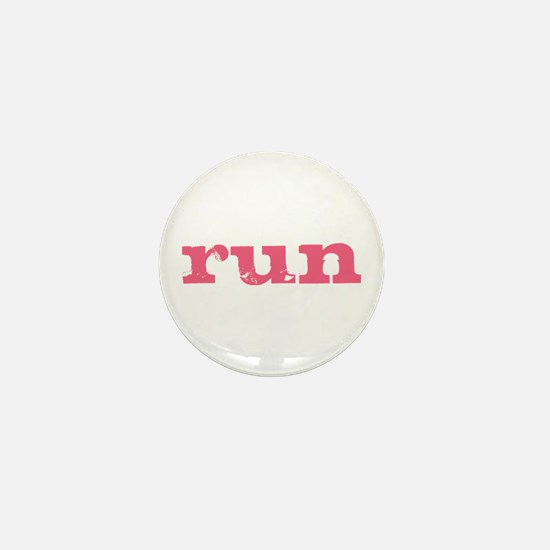 run - pink Mini Button