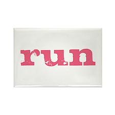 run - pink Rectangle Magnet