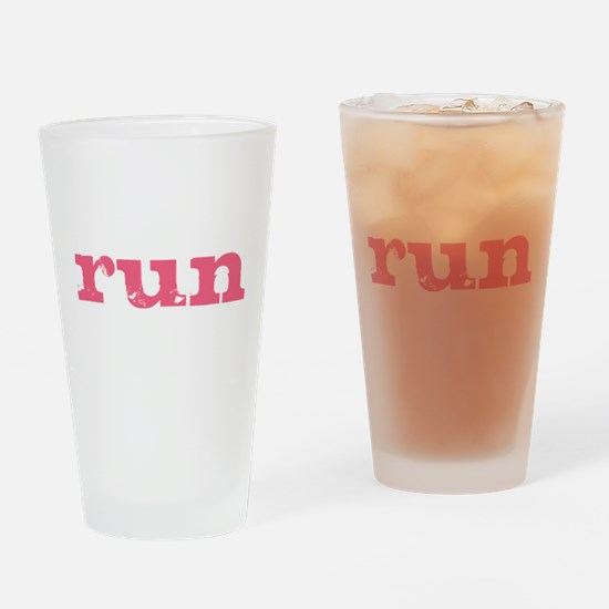 run - pink Drinking Glass