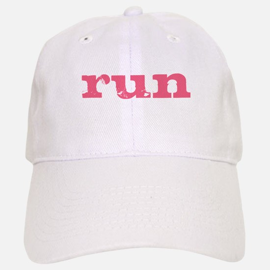 run - pink Baseball Baseball Cap