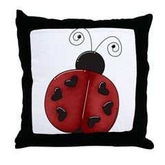 Cute Red Ladybug Throw Pillow