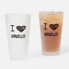 Cute I heart armadillos Drinking Glass