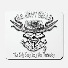 USN Navy Seal Skull Black and White Mousepad