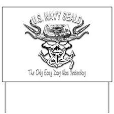 USN Navy Seal Skull Black and White Yard Sign
