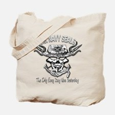 USN Navy Seal Skull Black and White Tote Bag