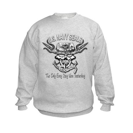 USN Navy Seal Skull Black and White Kids Sweatshir