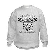 USN Navy Seal Skull Black and White Sweatshirt