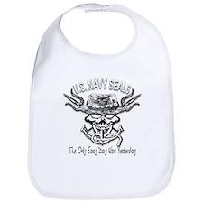 USN Navy Seal Skull Black and White Bib