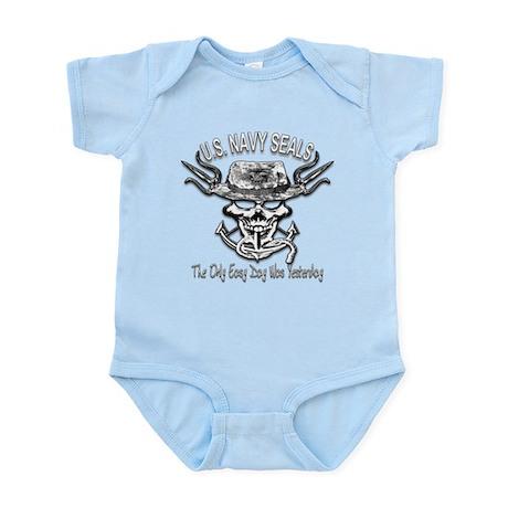 USN Navy Seal Skull Black and White Infant Bodysui