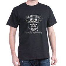 USN Navy Seal Skull Black and White T-Shirt
