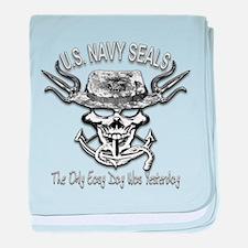 USN Navy Seal Skull Black and White baby blanket