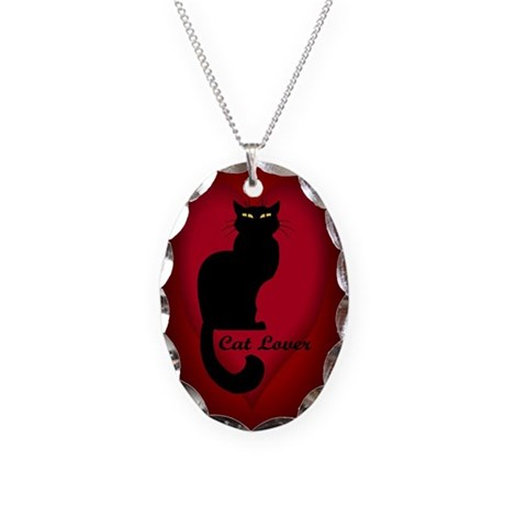 Cat Lover Heart Charm Cat Necklace Oval Charm