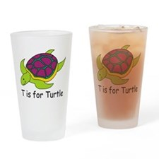 T is for Turtle Drinking Glass