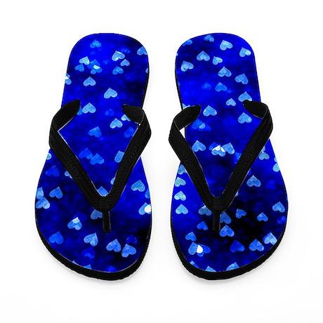 Blue Hearts Flip Flops