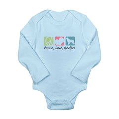 Peace, Love, Newfies Long Sleeve Infant Bodysuit