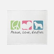 Peace, Love, Newfies Throw Blanket