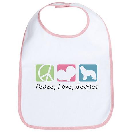 Peace, Love, Newfies Bib