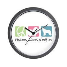 Peace, Love, Newfies Wall Clock