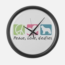 Peace, Love, Newfies Large Wall Clock
