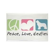 Peace, Love, Newfies Rectangle Magnet