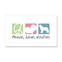 Peace, Love, Newfies Car Magnet 20 x 12