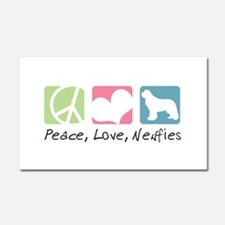 Peace, Love, Newfies Car Magnet 20 x 12