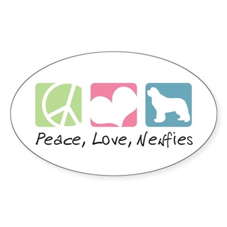 Peace, Love, Newfies Sticker (Oval)