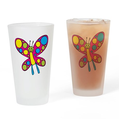 Happy Butterfly Drinking Glass