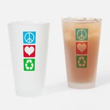 Peace Love Recycle Drinking Glass