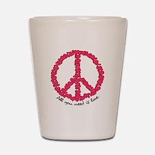 Hearts Peace Sign Shot Glass