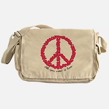 Hearts Peace Sign Messenger Bag