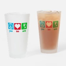 Peace Love Earth Drinking Glass