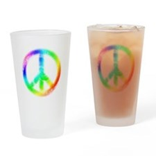 Tie Dye Peace Sign Drinking Glass