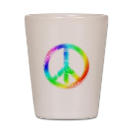Tie Dye Peace Sign Shot Glass