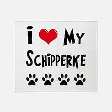 I Love My Schipperke Throw Blanket