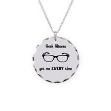 Geek Glasses Necklace Circle Charm