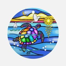 Sea Turtle #8 Ornament (Round)
