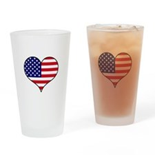 American Flag Heart Drinking Glass