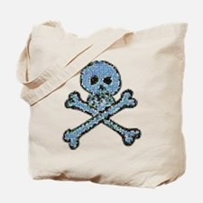 Blue Pixeled Pirate Skull Tote Bag