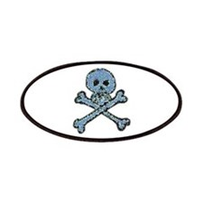 Blue Pixeled Pirate Skull Patches