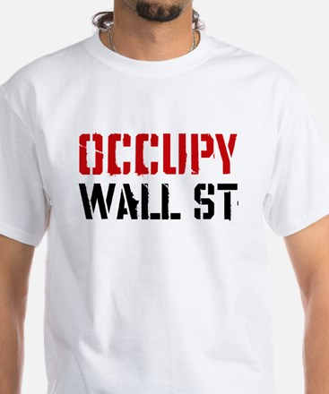 Occupy Wall St White T-Shirt