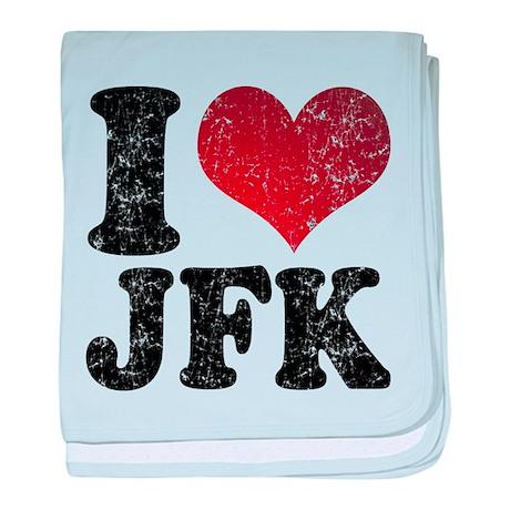 I heart JFK baby blanket