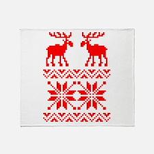 Moose Sweater Christmas Pattern Throw Blanket