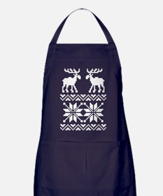 Moose Sweater Christmas Pattern Apron (dark)