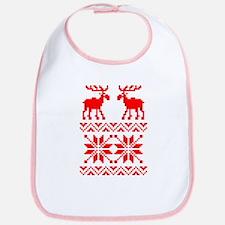 Moose Sweater Christmas Pattern Bib