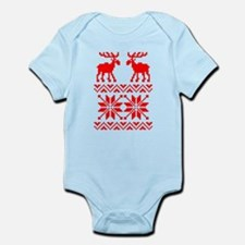 Moose Sweater Christmas Pattern Infant Bodysuit