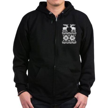 Moose Sweater Christmas Pattern Zip Hoodie (dark)