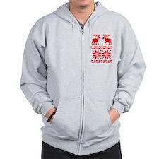 Moose Sweater Christmas Pattern Zip Hoodie
