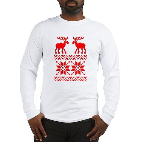 Moose Sweater Christmas Pattern Long Sleeve T-Shir